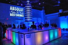 At the bar, hundreds of Absolut bottles formed a bottle-shaped sculpture. Photo: Alison Whittington for BizBash
