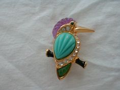 vintage kjl humming bird brooch jeweled by qualityvintagejewels