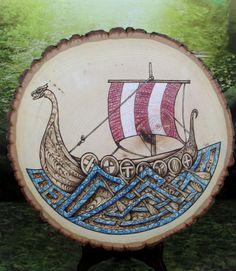 Viking Longship  Pyrography Art 11 Basswood Thick by FriggasFinery