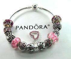 Authentic Pandora Silver bangle charm bracelet with European Charms Heart Love #Pandoralobsterbangleclaspclaw #European