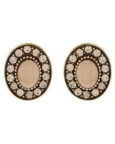 Fable crystal and opal encrusted oval stud earrings, Debenhams