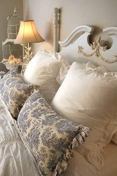 The blue and white toile pillows complete this restful look (1) Beautiful Things Are Love And Dreams, please visit
