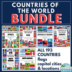 All The Flags Of The World And Their Names Countries Of The World Bundleall 193 Countries Their Flags Capital Cities And Geographic Locat In 2020 Countries Of The World Country Names Fun Classroom Activities