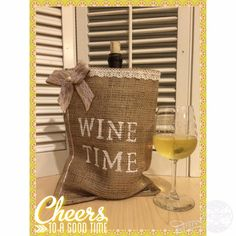 Wine Burlap Gift Bag! Great for Bridal Parties! Customize with your favorite colors! by QueensBanners