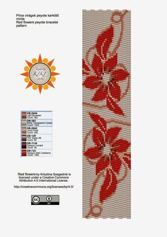 KIKI GYÖNGYEI: Virágos peyote karkötő minta - pattern