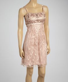 Another great find on #zulily! Sue Wong Creme Beaded Lace Empire-Waist Dress by Sue Wong #zulilyfinds