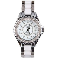 Luxury Watch with Diamonds Round Dial Plastic and Steel Watchband #jewelry, #women, #men, #hats, #watches, #belts, #fashion