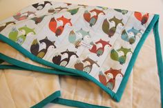 organic baby quilt blanket playmat SMALL FOXES green brown blue white fox boy ready to ship