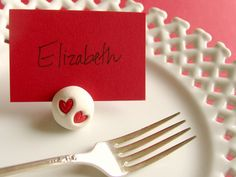 clay HEART Place Card  Holder - valentine wedding escort card name place holder - set of 10 red silver or gold. $10.00, via Etsy.