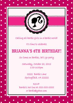 12 best barbie birthday images on pinterest barbie party barbie 5x7 vintage barbie birthday invitation by announcementsplus 1500 filmwisefo
