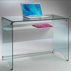 Scrivania porta computer in vetro temperato da 10 mm con for Deco meuble srl