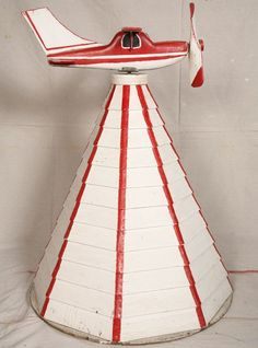"Airplane Whirligig, 43"" Tall , Folk Art,1940's-50, Yard Art"
