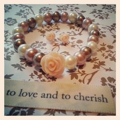 This is Dusky pink and Peach ROSE bridal bracelet ♥ these bracelets can be custom made to suit your wedding theme ♥ Please take a look at our fb page www.facebook.com/cinnalouscreations ♥ This set is £ 9 including postage costs and bridal wrapping ♥ #jewellery #handmade #fashion #bracelets #wedding #bride #peach#pearls