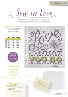 """""""Love what you do"""" cross stitch"""
