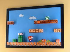 Things We're Diggin': DIY Super Mario Papercraft Magnetic Board Nintendo Room, Mario Room, Cuadros Diy, Mario Party, Super Mario Bros, Paper Toys, Game Room, Diy For Kids, Magnets