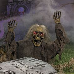 Nothing brings the fright of Halloween night like a creepy skeleton rising from it's grave! This Try Me Grave Breaker is the perfect Halloween decoration that is sure to turn any home or front yard into a scary graveyard or haunted house. Use this Grave Breaker as decor to spruce up your Halloween party or scare and entertain trick-or-treaters as they approach your home. Place indoors or outdoors for a frightfully fun Halloween! Eyes flash red when triggered.
