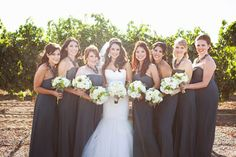 :love the dark gray bridesmaid dresses: