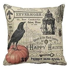 HLPPC Modern Vintage Halloween Pumpkin and Crow Throw Pillows Cover 18 x 18 Inches One Side