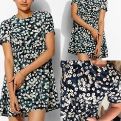 Oh my love UO asos Babydoll Dress floral brandy s Oh My Love Curved-Front Babydoll Dress in deep sea floral print. Sold at urban outfitters, asos and more. Very brandy Melville. NO TRADES Urban Outfitters Dresses Mini
