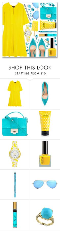"""""""Summer Brights: Yellow And Blue"""" by anamarija00 ❤ liked on Polyvore featuring Saloni, Gianvito Rossi, Jimmy Choo, Marc Jacobs, Kate Spade, NYX, Ray-Ban, Effy Jewelry and summerbrights"""