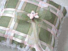 Ring bearer pillow ~ green, pink & white satin ribbons