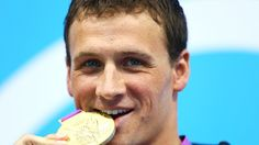 Ryan Lochte poses with his gold medal!