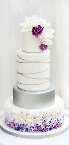 Beautiful Cake Pictures: Silver Ribbon & Colorful Ruffles Wedding Cake - Cakes with Ribbons, Cakes With Ruffles, Elegant Cakes, Wedding Cakes - Beautiful Wedding Cakes, Gorgeous Cakes, Pretty Cakes, Magical Wedding, Amazing Cakes, Fondant Cakes, Cupcake Cakes, Bolo Cake, Ruffle Cake