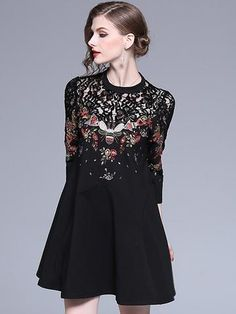 This skater dress has a clever combination of lace and embroidery that suits many casual styles and the women who like classical elements. skater fashion,elegant skater dress,skater dress chic,skater dress casual,skater dress for wedding party Party Dresses With Sleeves, Bodycon Dress With Sleeves, Women's Fashion Dresses, Casual Dresses, Women's Dresses, Bride Dresses, Pretty Dresses, Skater Dress For Wedding, Bodycon Dress Parties