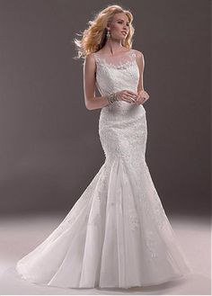 ELEGANT TULLE SATIN MERMAID ILLUSION BATEAU NECK NATURAL WAISTLINE WEDDING DRESS LACE FORMAL PROM PARTY BALL GOWN