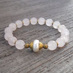 Heart healing and purity rose quartz and Tibetan capped pearl