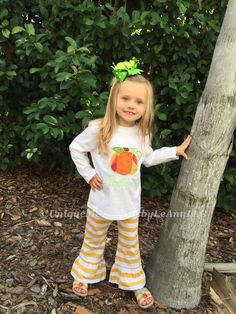 Toddlers & Girls Fall outfit Customized Pumpkin appliquéd long sleeve Shirt and Stripped Ruffle pants FREE Name or Monogram Thanksgiving by UniqueMemoriesLeAnn on Etsy