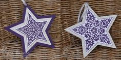 hand crafted star ornament cards from colour me happy ... purple and glittery silver ... Stampin' Up!