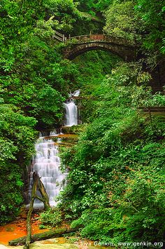 Waterfall and Latent Celestial Bridge, Zhangjiajie National Park, China