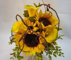 Prettiest Sunflower bouquet I've seen. Love the Curly Willow wrapped throughout...perfect balance of textures!