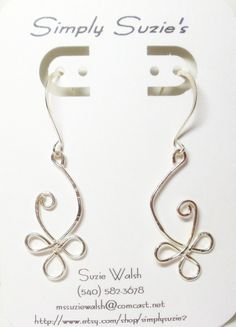Silver Floral Swirl Earrings- Wire Wrapped- Celtic- Handmade Jewelry. $15.00, via Etsy.