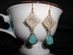 Beautiful Seafoam Aqua Gold Lace Dangle by luvswoodencars2 on Etsy, $21.00
