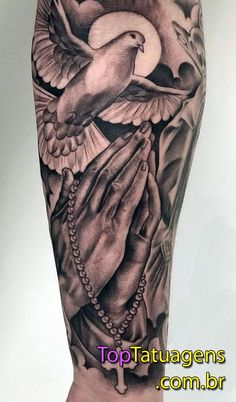 Tattoos on back Forearm Sleeve Tattoos, Best Sleeve Tattoos, Tattoo Sleeve Designs, Mens Hand Tattoos, Dove Tattoos, Body Art Tattoos, Trendy Tattoos, Tattoos For Guys, Religous Tattoo