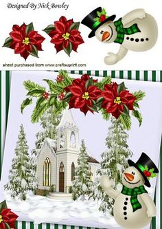 Pretty church in the snow with trees and snowman 8x8 on Craftsuprint - Add To Basket!
