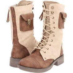 """""""Roxy Oregon"""" boots. Canvas & leather two-tone with a cute little side pocket! $59.99"""