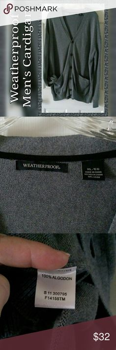 NWOT Weatherproof Gray Cardigan Handsome gray XL men's cardigan by Weatherproof brand. Very soft with two tront pockets. Material is 100% algodon that is moderately stretchy with a little more stretch in waist & cuffs. V-neck style in new condition. Color is accurate in pics. I will be happy to answer any questions about this item. Thank you for visiting my closet 💖 Weatherproof Sweaters Cardigan