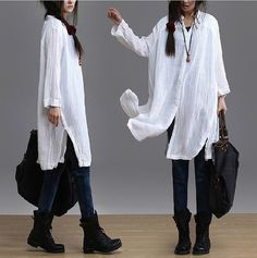 Loose Fitting Linen Shirt Blouse for Women  - White -Long Sleeved Women Clothing (R)