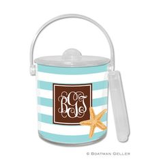 Stripe Starfish Ice Bucket by Boatman Geller.This Stripe Starfish Ice Bucket includes tongs and one personalized insert.  Insert is changeable so be sure to check out our other styles to match the season or your special event.  Other coordinating products also available. Price: $40 Housewarming Gifts, Starfish, House Warming, Special Events, Bucket, Ice, Check, Products, Buckets