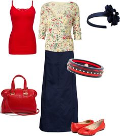 """""""Untitled #238"""" by sweetarts89 ❤ liked on Polyvore -- a floral twist on patriotic! <3"""