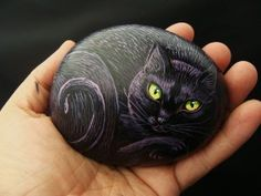 Hand Painted Rocks Black Cat (FREE SHIPPING)