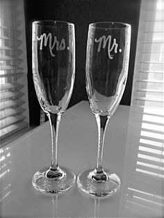 Champagne Flutes Wedding Toasting Flutes Mr by EtchedExpressions, $20.00