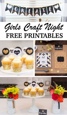 Girls Craft Night Party with free printables!