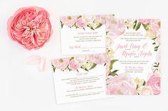 Vietnamese Wedding Set Invitation, Reception, RSVP - DIY - Blush Watercolor Floral Flowers - Romantic Pink Peonies Roses Green - Angela