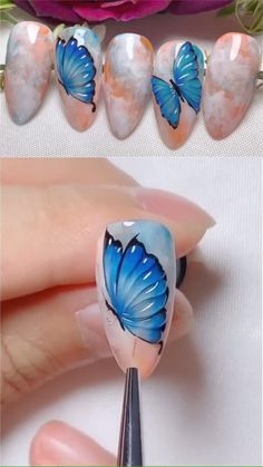 Butterfly Nail Art, Rose Nail Art, Butterfly Nail Designs, Simple Nail Art Videos, Nail Art Designs Videos, Nail Art Hacks, Nail Art Diy, 3d Nails Art, Pretty Nail Art