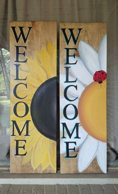 Wooden Crafts Spring/Summer Welcome Signs Handpainted welcome signs and porch decor to bring in Spring and get ready for Summer! Brighten your front porch with my handpainted signs! Find more on my website! Welcome Signs Front Door, Wooden Welcome Signs, Front Porch Signs, Diy Wood Signs, Outdoor Wood Signs, Outdoor Welcome Sign, Wooden Pallet Signs, Welcome Post, Front Porches