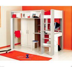 Kinderbett Hochbett mit Treppe Kleiderschrank Schreibtisch weiß Parisot spaceA | eBay